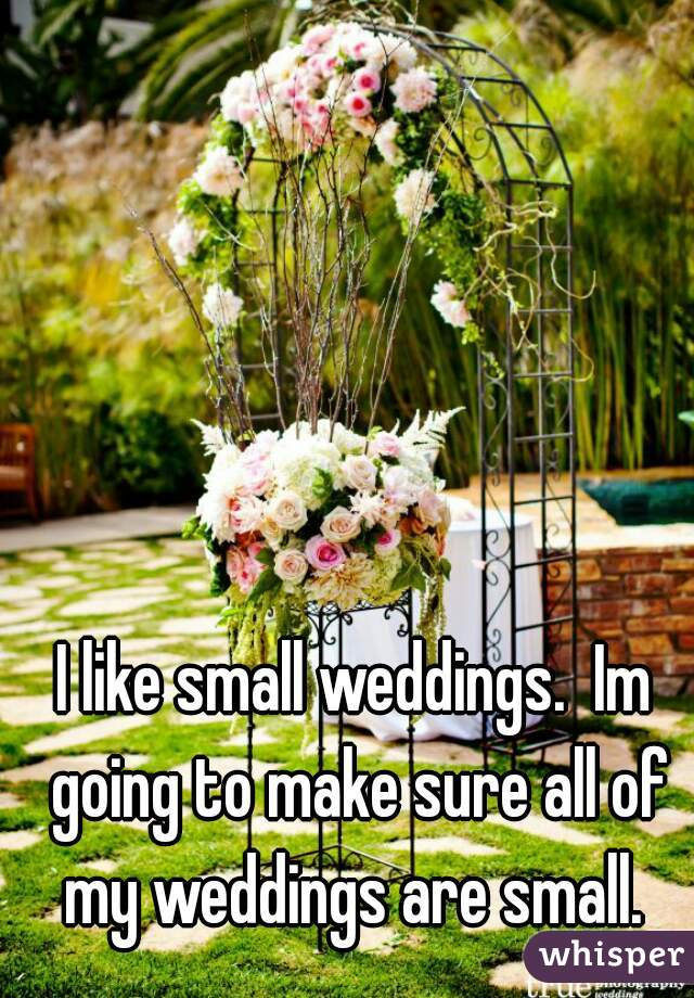 I like small weddings.  Im going to make sure all of my weddings are small.
