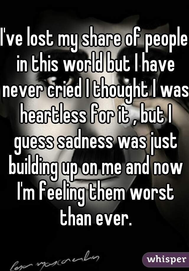 I've lost my share of people in this world but I have never cried I thought I was heartless for it , but I guess sadness was just building up on me and now I'm feeling them worst than ever.