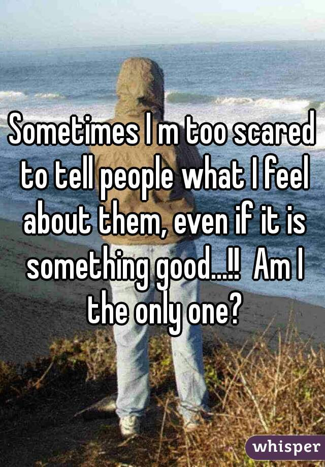 Sometimes I m too scared to tell people what I feel about them, even if it is something good...!!  Am I the only one?