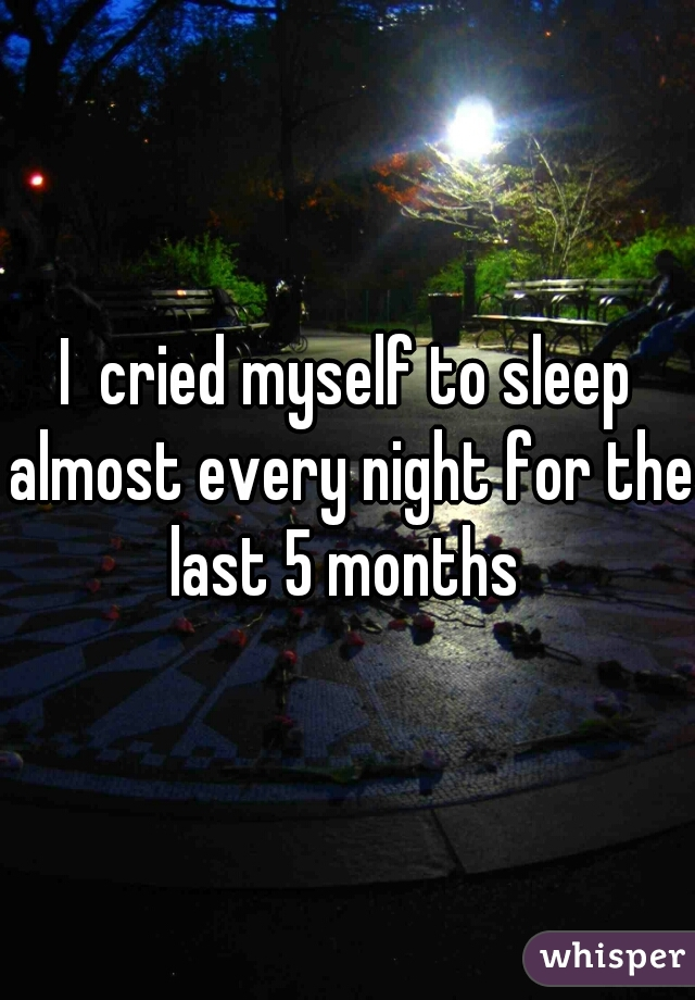 I  cried myself to sleep almost every night for the last 5 months
