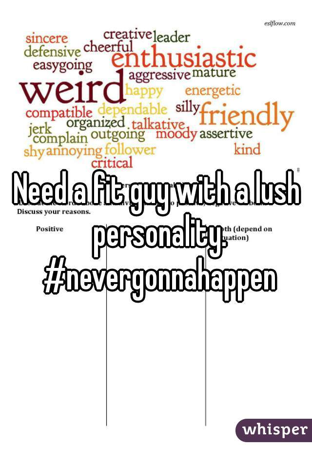 Need a fit guy with a lush personality. #nevergonnahappen