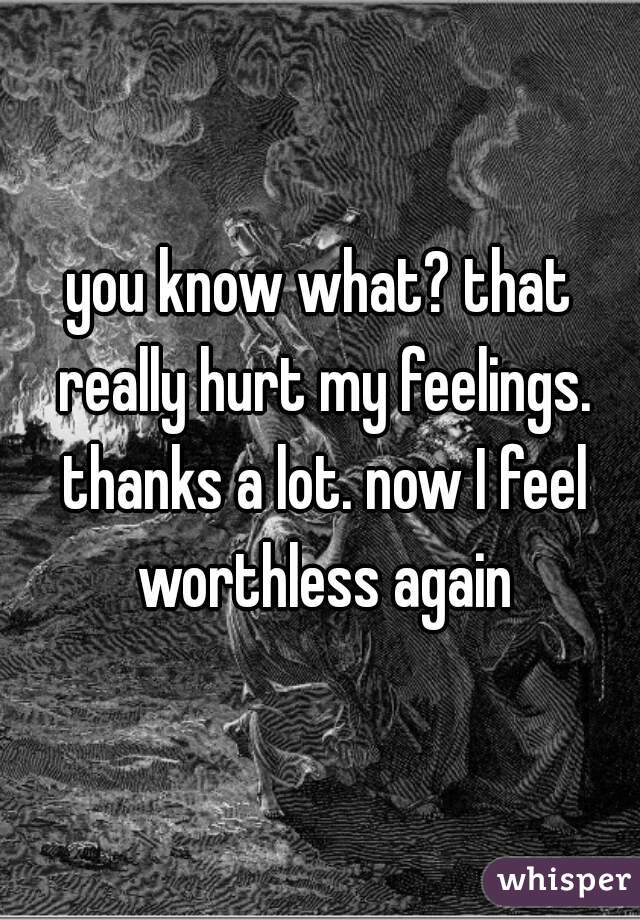 you know what? that really hurt my feelings. thanks a lot. now I feel worthless again