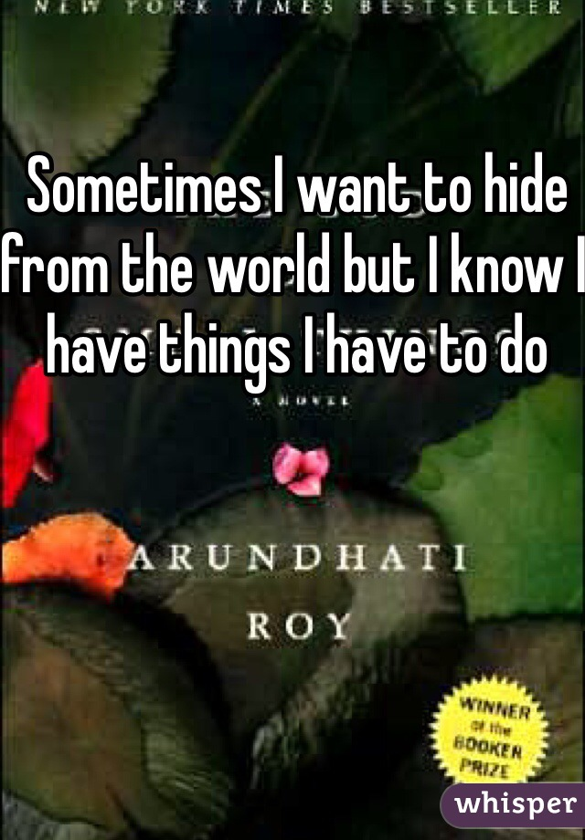 Sometimes I want to hide from the world but I know I have things I have to do