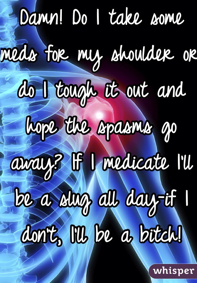 Damn! Do I take some meds for my shoulder or do I tough it out and hope the spasms go away? If I medicate I'll be a slug all day-if I don't, I'll be a bitch!