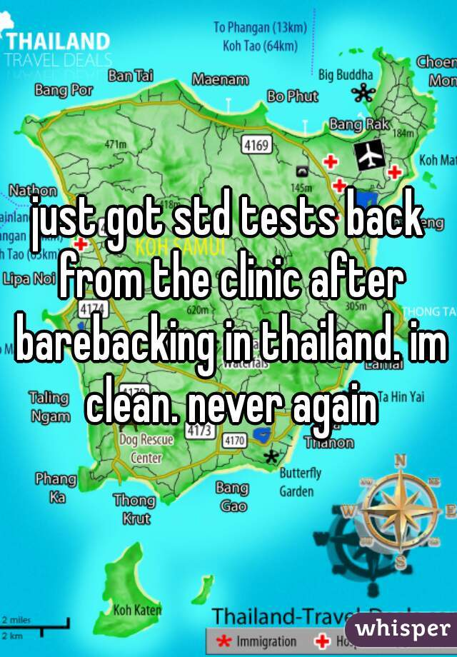 just got std tests back from the clinic after barebacking in thailand. im clean. never again