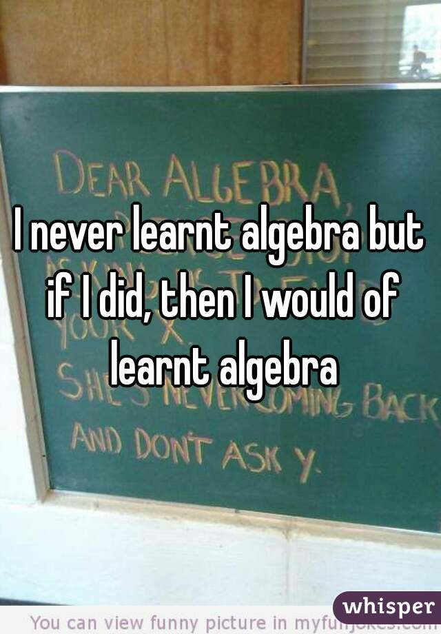 I never learnt algebra but if I did, then I would of learnt algebra