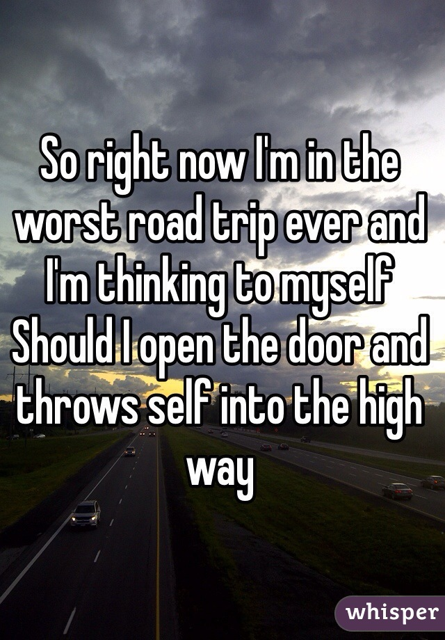 So right now I'm in the worst road trip ever and I'm thinking to myself  Should I open the door and throws self into the high way