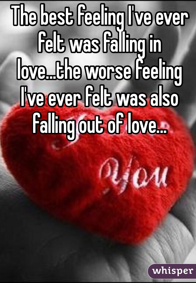 The best feeling I've ever felt was falling in love...the worse feeling I've ever felt was also falling out of love...