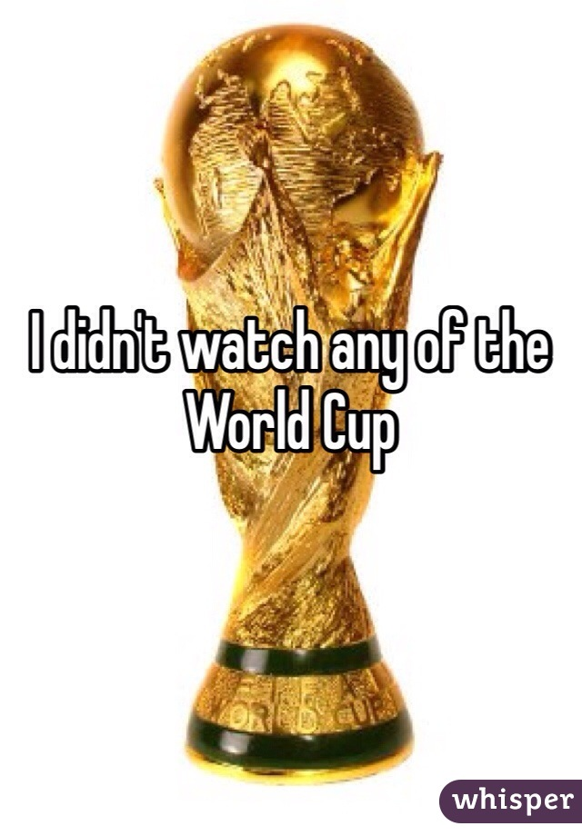 I didn't watch any of the World Cup