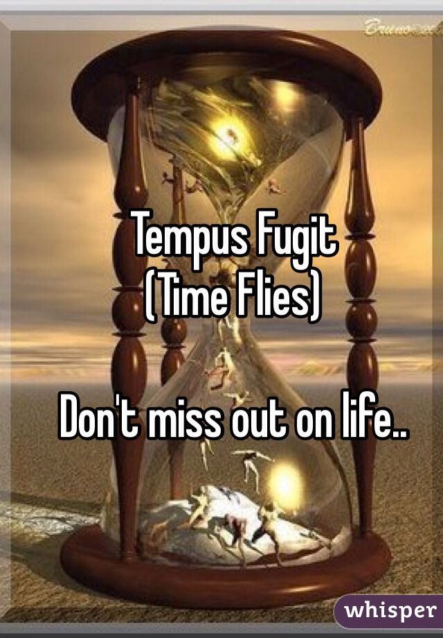 Tempus Fugit (Time Flies)  Don't miss out on life..
