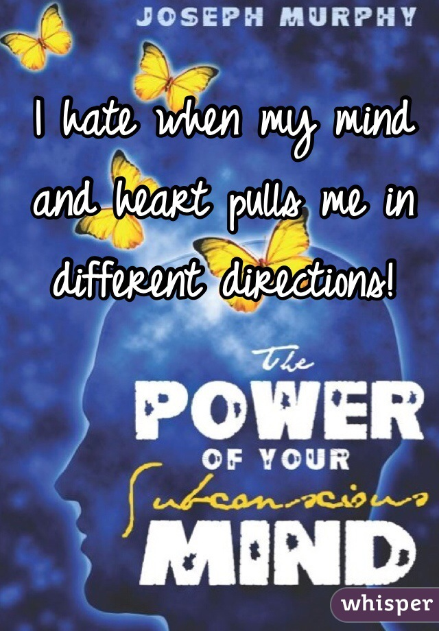 I hate when my mind and heart pulls me in different directions!