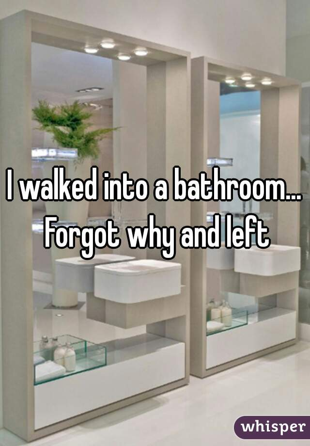 I walked into a bathroom... Forgot why and left