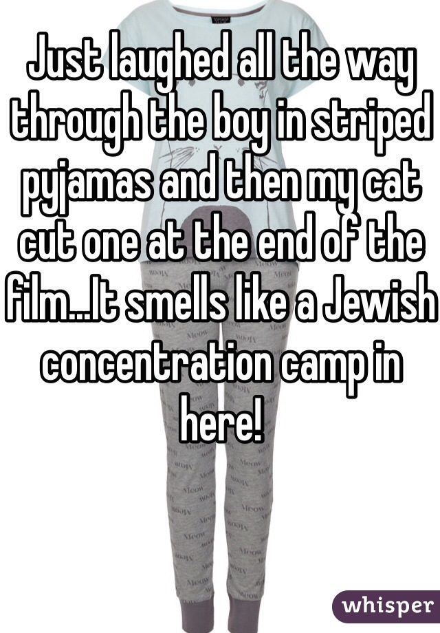 Just laughed all the way through the boy in striped pyjamas and then my cat cut one at the end of the film...It smells like a Jewish concentration camp in here!
