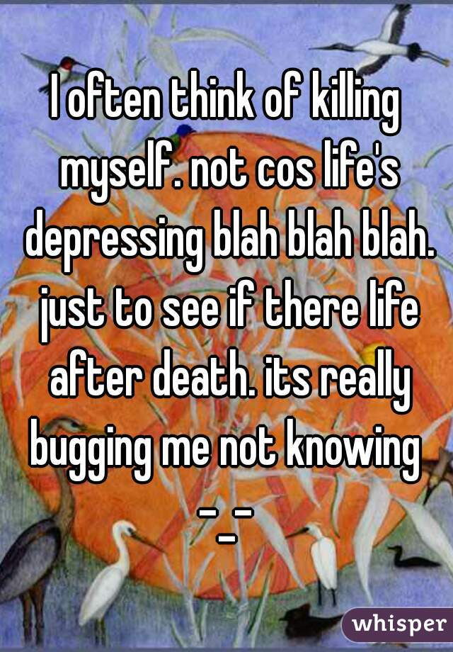 I often think of killing myself. not cos life's depressing blah blah blah. just to see if there life after death. its really bugging me not knowing  -_-