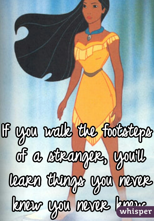 If you walk the footsteps of a stranger, you'll learn things you never knew you never knew.