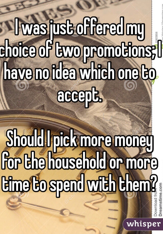 I was just offered my choice of two promotions; I have no idea which one to accept.   Should I pick more money for the household or more time to spend with them?