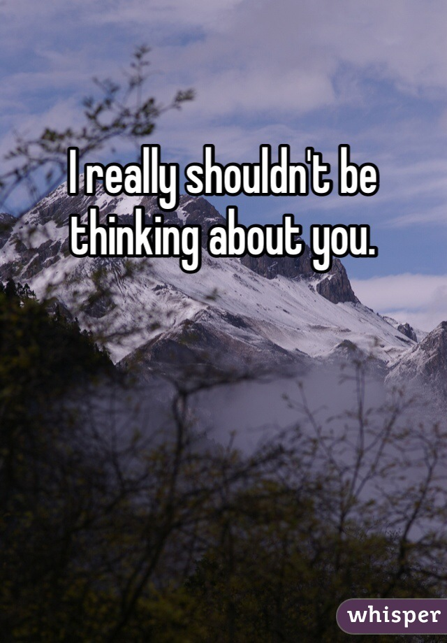 I really shouldn't be thinking about you.