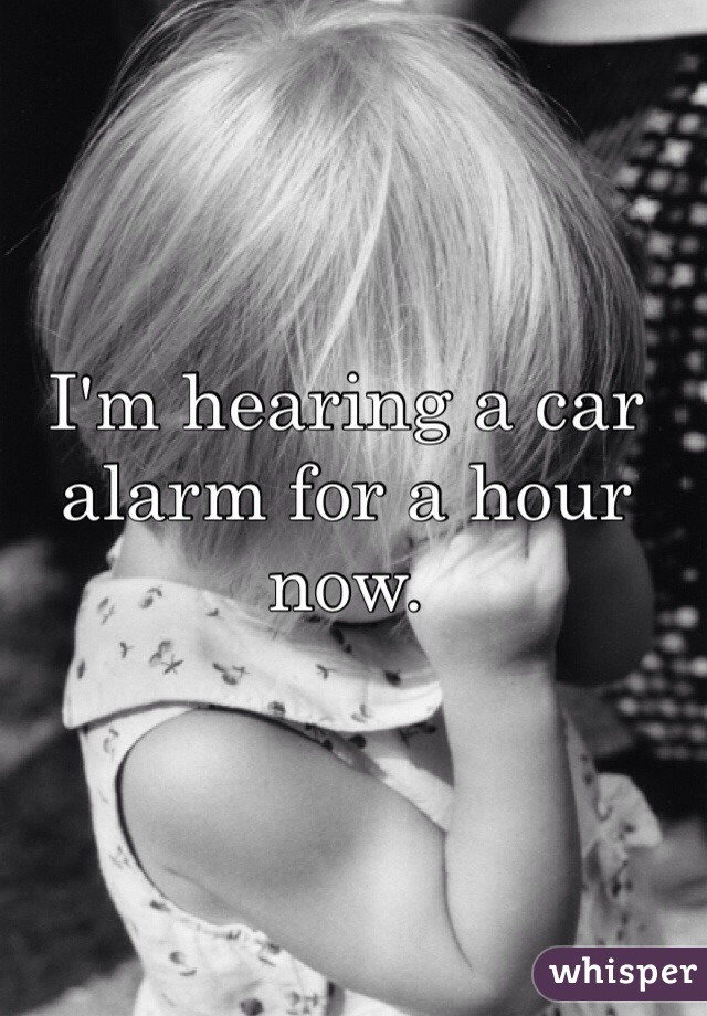 I'm hearing a car alarm for a hour now.