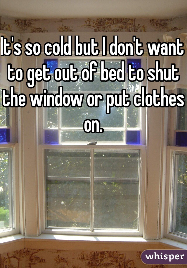 It's so cold but I don't want to get out of bed to shut the window or put clothes on.