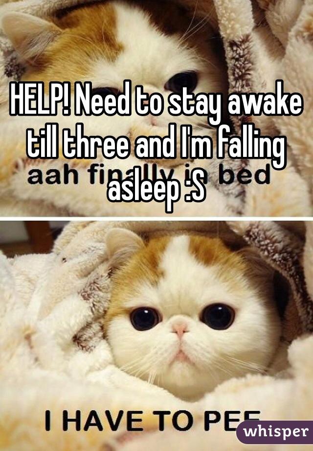 HELP! Need to stay awake till three and I'm falling asleep :S
