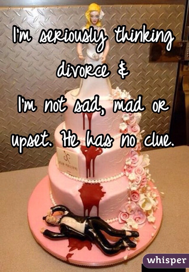I'm seriously thinking divorce & I'm not sad, mad or upset. He has no clue.