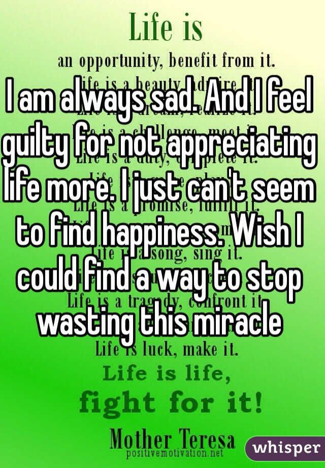 I am always sad. And I feel guilty for not appreciating life more. I just can't seem to find happiness. Wish I could find a way to stop wasting this miracle
