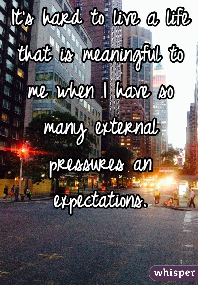 It's hard to live a life that is meaningful to me when I have so many external pressures an expectations.