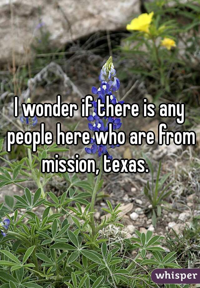 I wonder if there is any people here who are from mission, texas.