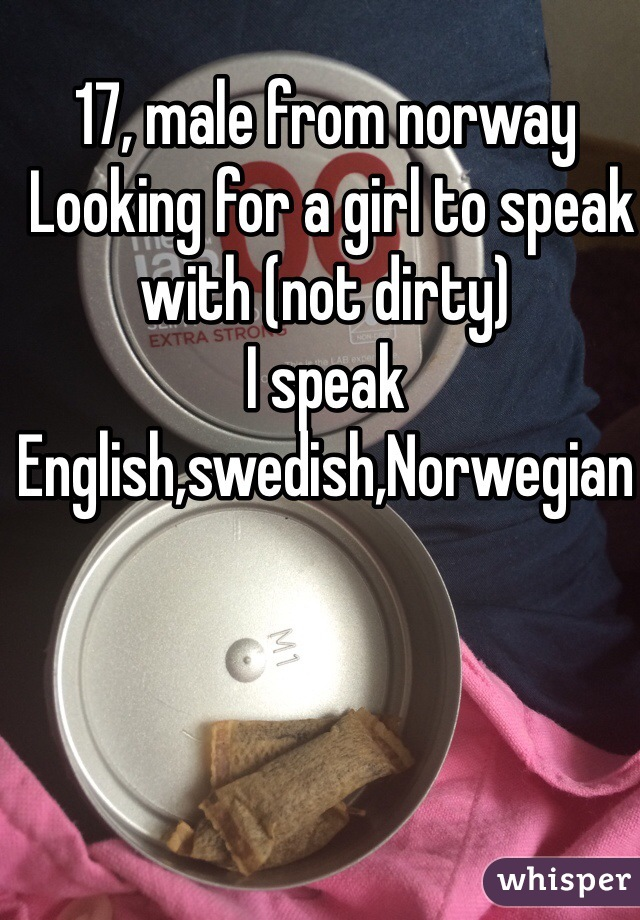 17, male from norway  Looking for a girl to speak with (not dirty)  I speak English,swedish,Norwegian