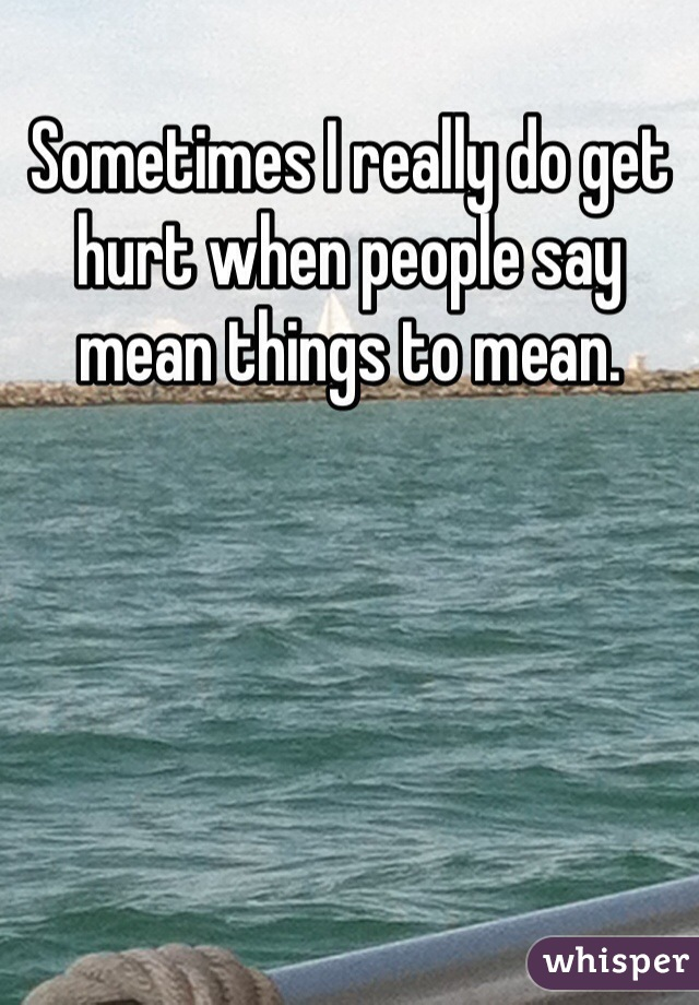 Sometimes I really do get hurt when people say  mean things to mean.