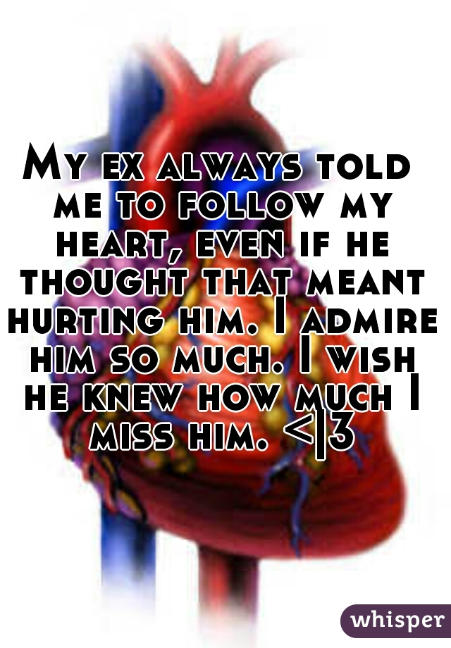 My ex always told me to follow my heart, even if he thought that meant hurting him. I admire him so much. I wish he knew how much I miss him. < 3