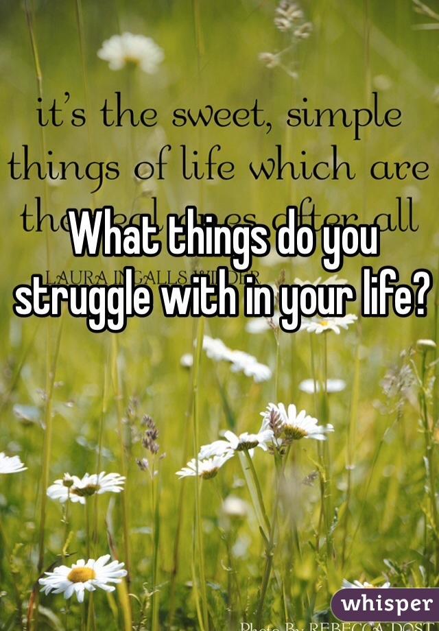 What things do you struggle with in your life?