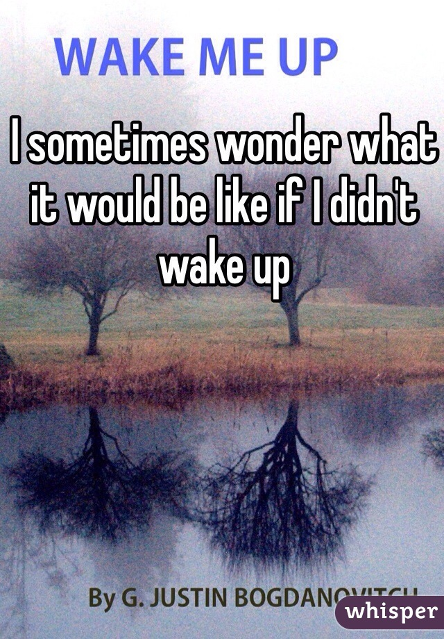 I sometimes wonder what it would be like if I didn't wake up