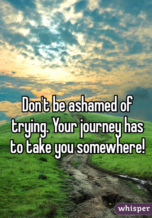 Don't be ashamed of trying. Your journey has to take you somewhere!