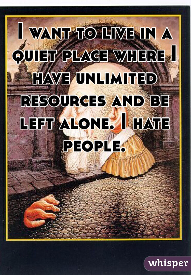 I want to live in a quiet place where I have unlimited resources and be left alone. I hate people.