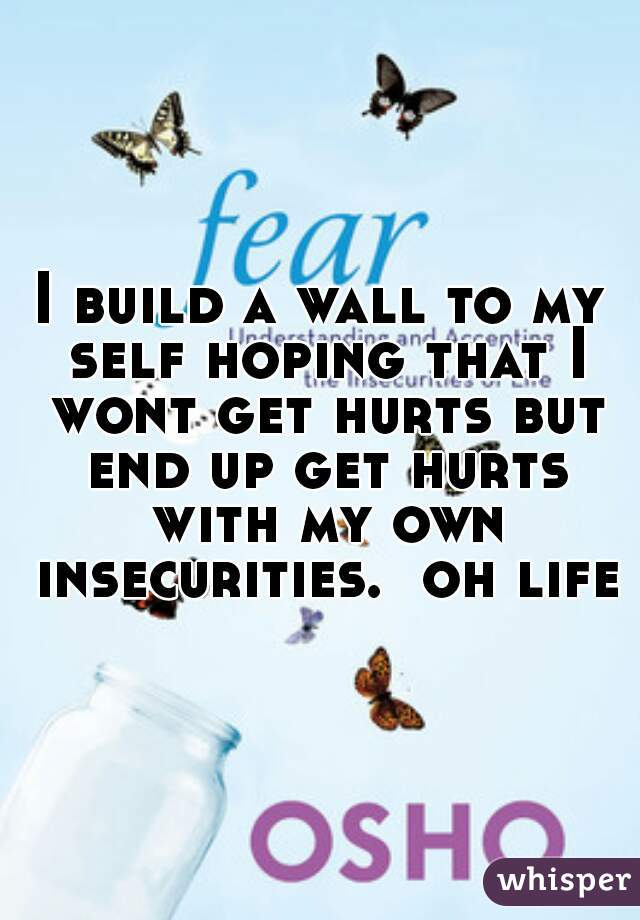 I build a wall to my self hoping that I wont get hurts but end up get hurts with my own insecurities.  oh life