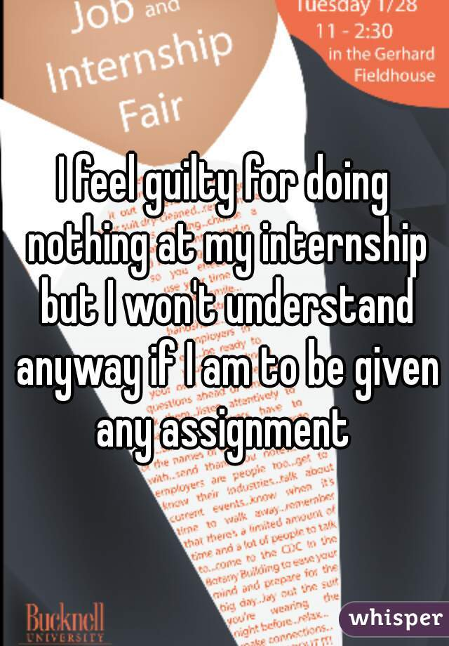 I feel guilty for doing nothing at my internship but I won't understand anyway if I am to be given any assignment