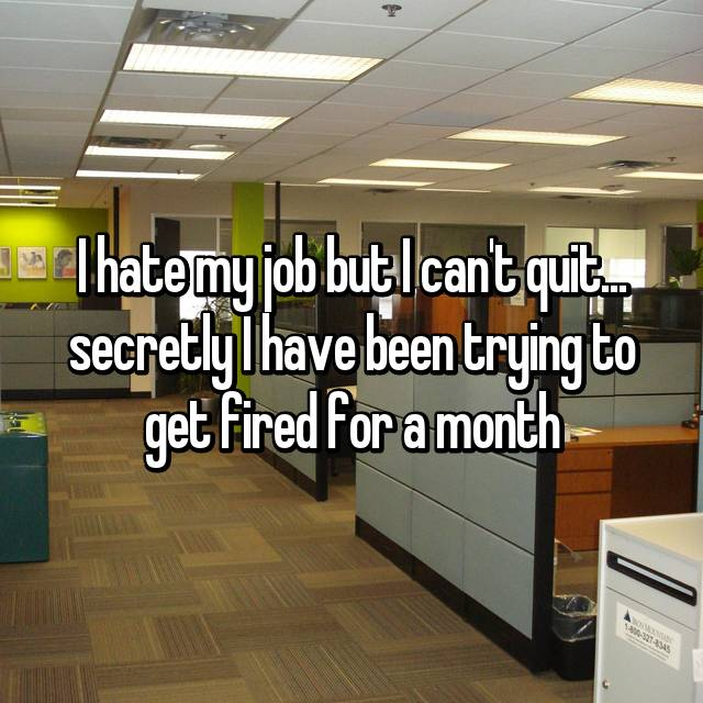 I hate my job but I can't quit... secretly I have been trying to get fired for a month