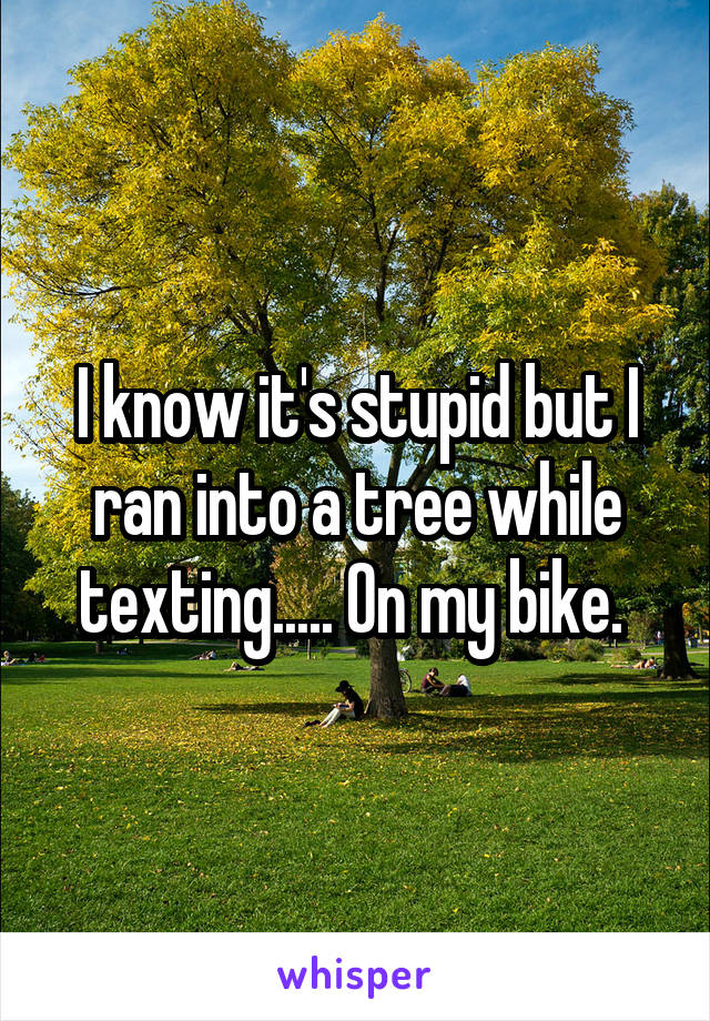 I know it's stupid but I ran into a tree while texting..... On my bike.