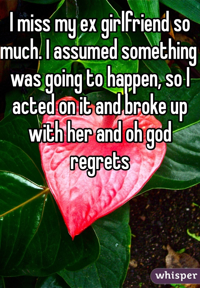 I miss my ex girlfriend so much. I assumed something was going to happen, so I acted on it and broke up with her and oh god regrets