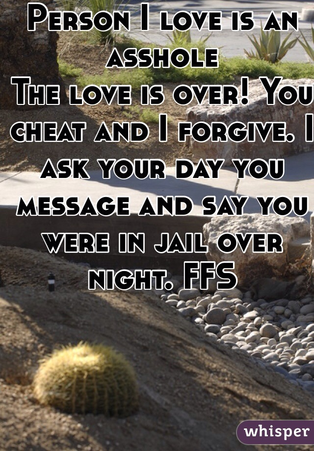 Person I love is an asshole The love is over! You cheat and I forgive. I ask your day you message and say you were in jail over night. FFS