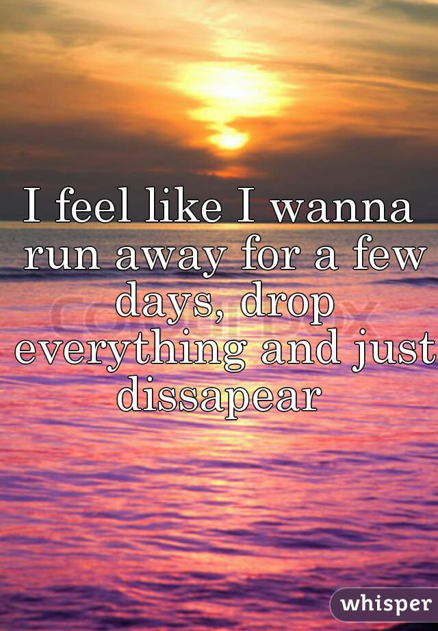 I feel like I wanna run away for a few days, drop everything and just dissapear