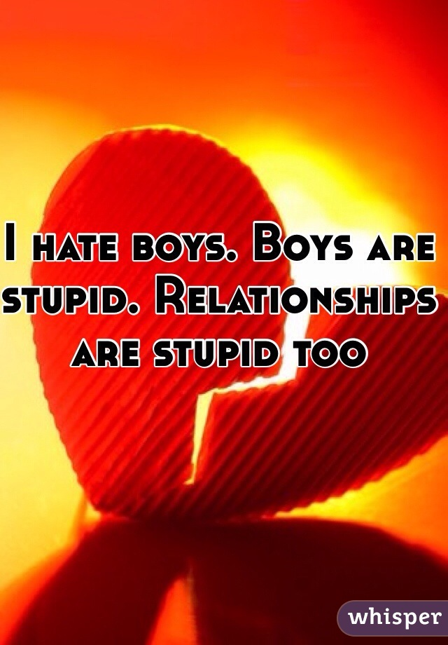 I hate boys. Boys are stupid. Relationships are stupid too