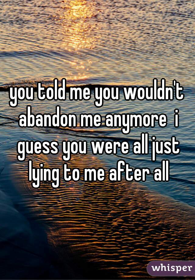 you told me you wouldn't abandon me anymore  i guess you were all just lying to me after all