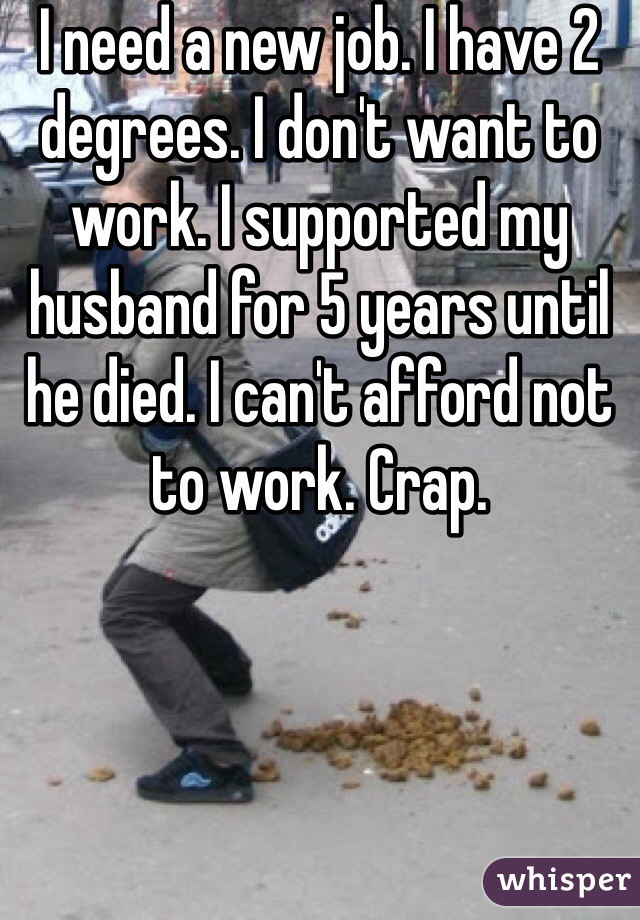 I need a new job. I have 2 degrees. I don't want to work. I supported my husband for 5 years until he died. I can't afford not to work. Crap.