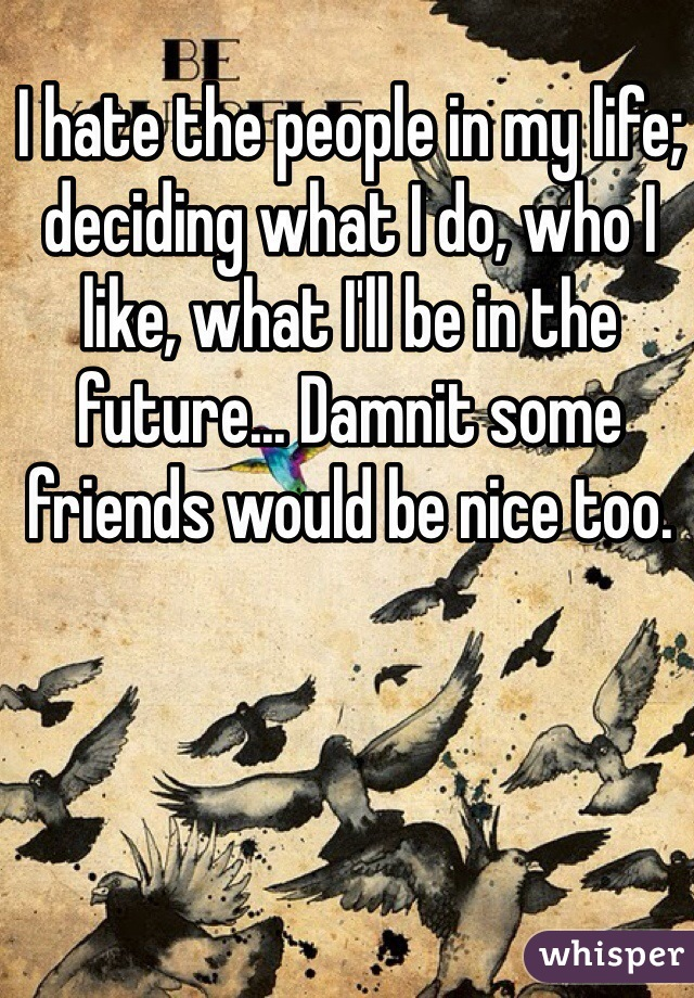 I hate the people in my life; deciding what I do, who I like, what I'll be in the future... Damnit some friends would be nice too.