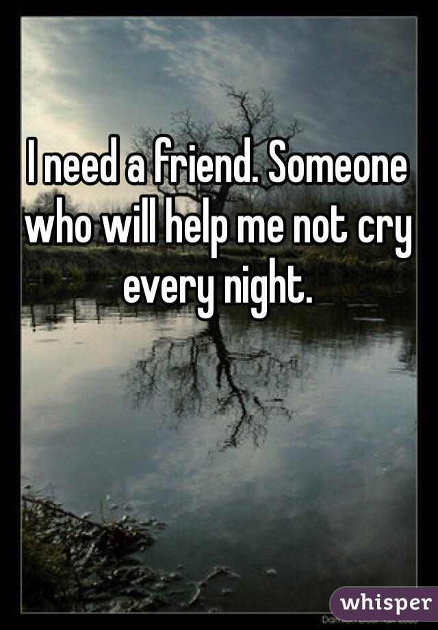 I need a friend. Someone who will help me not cry every night.