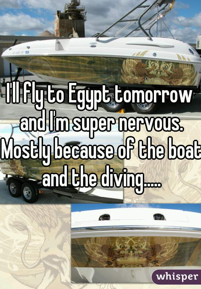 I'll fly to Egypt tomorrow and I'm super nervous. Mostly because of the boat and the diving.....