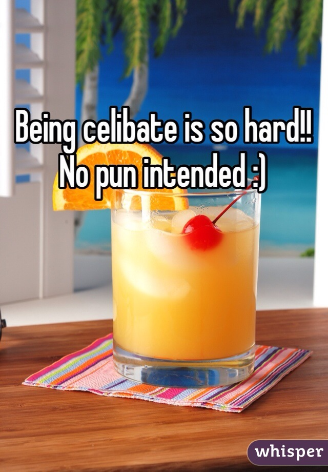 Being celibate is so hard!! No pun intended :)