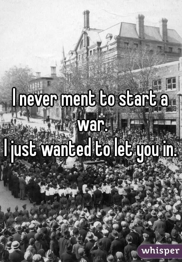 I never ment to start a war. I just wanted to let you in.